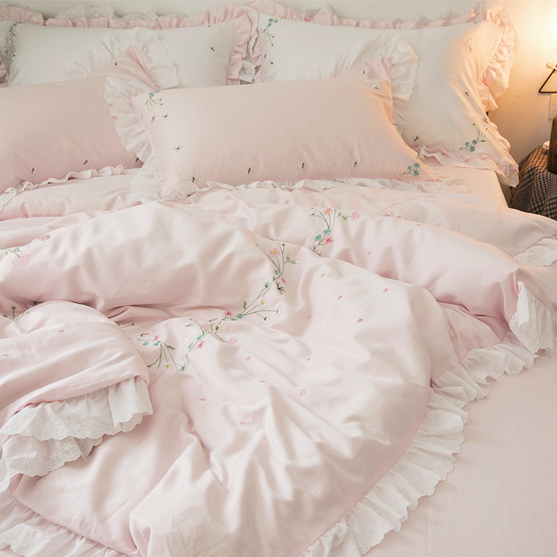 公主风60支全棉刺绣四件套 贡缎蕾丝花边纯棉田园风高端床上用品