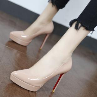 欧美12cm超高跟鞋性感细跟夜场女鞋2020春秋漆皮尖头防水台OL单鞋图片