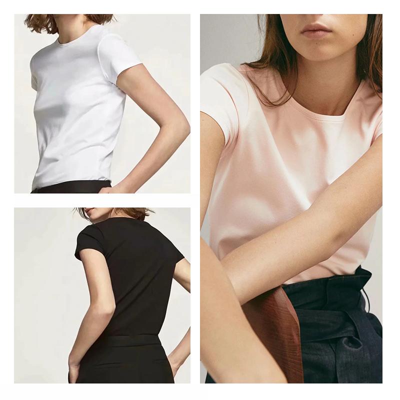 西班牙 MD女装经典款白色短袖 T恤 M家基础款打底上衣06850900250