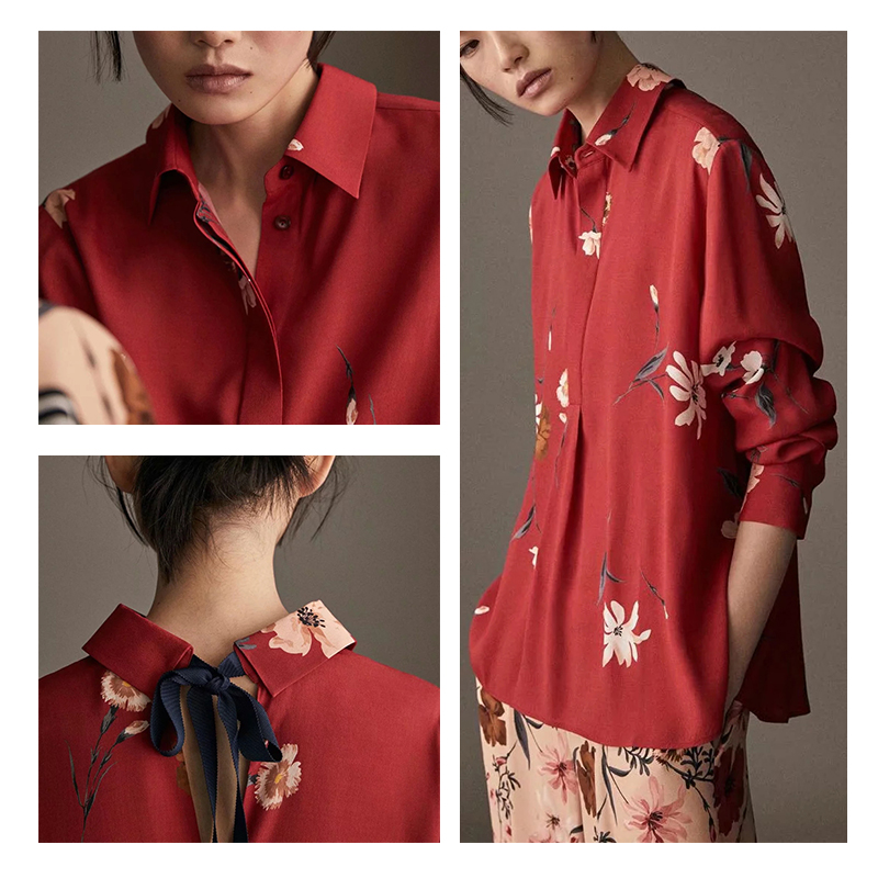 西班牙 MD 大红色花卉印花系结设计衬衫 M家长袖上衣05013501600