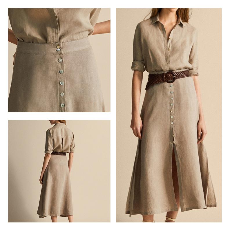 西班牙 MD女装  亚麻半身裙 M家纯色排扣开叉纯色长裙05209605806