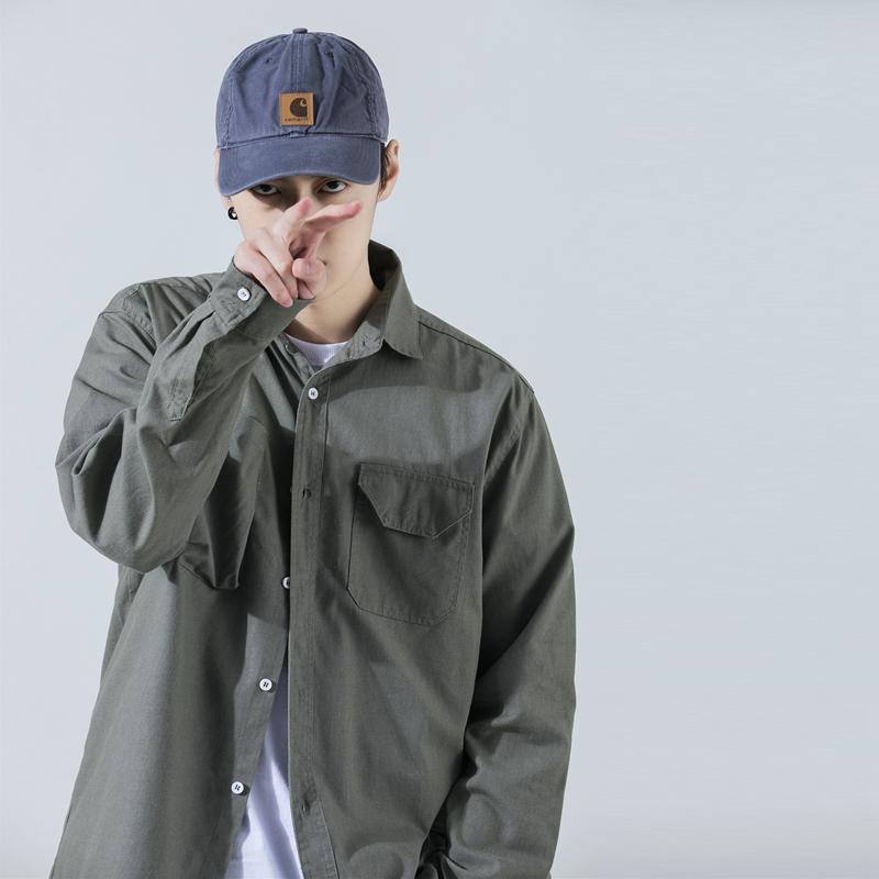 GRINCH1928 SS 美式简约口袋翻领工装衬衫男复古纯色宽松外套潮牌