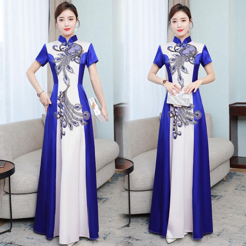 宴会晚礼服2020新款优雅修身旗袍长款宴会主持舞台走秀合唱演出服 -