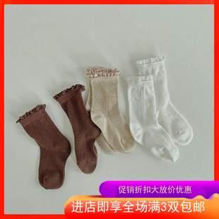 3双包邮-2020秋冬韩版新款麦穗花边儿童公主风短袜女童淑女袜子图片