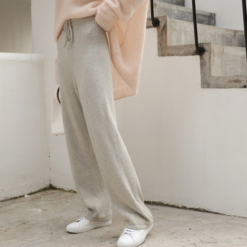 灰色系带宽松高腰针织阔腿裤女秋冬直筒裤羊毛羊绒打底休闲长裤子