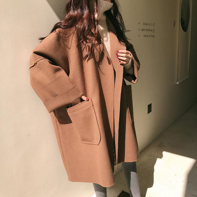 【秋季新款呢子外套】宽松廓形毛呢外套女中长款大码茧型呢子大衣