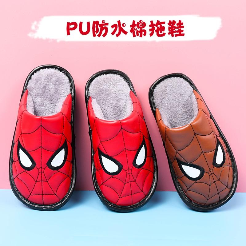 秋冬新款儿童棉拖鞋PU防水保暖卡通小孩男童女童中大童防滑棉拖鞋