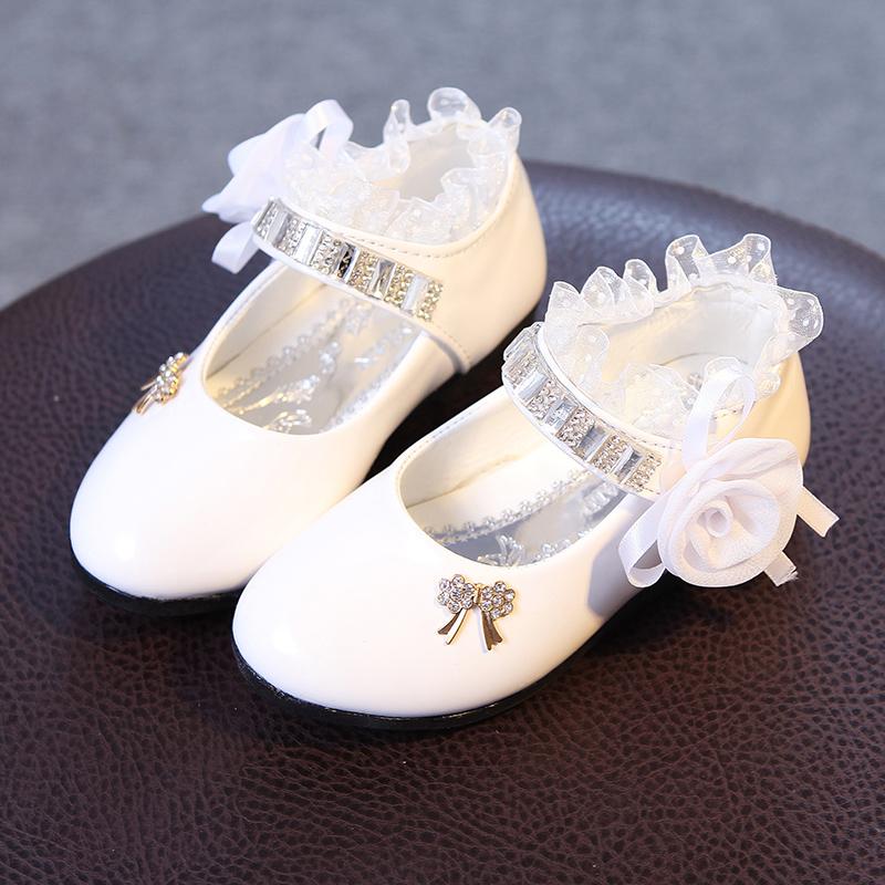 中大童韩版单鞋宝宝儿童皮鞋女童鞋舞蹈61儿童节表演鞋白色公主鞋