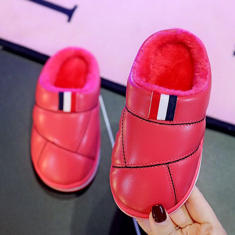 儿童棉拖鞋男女童亲子皮宝宝防滑包跟家居室内