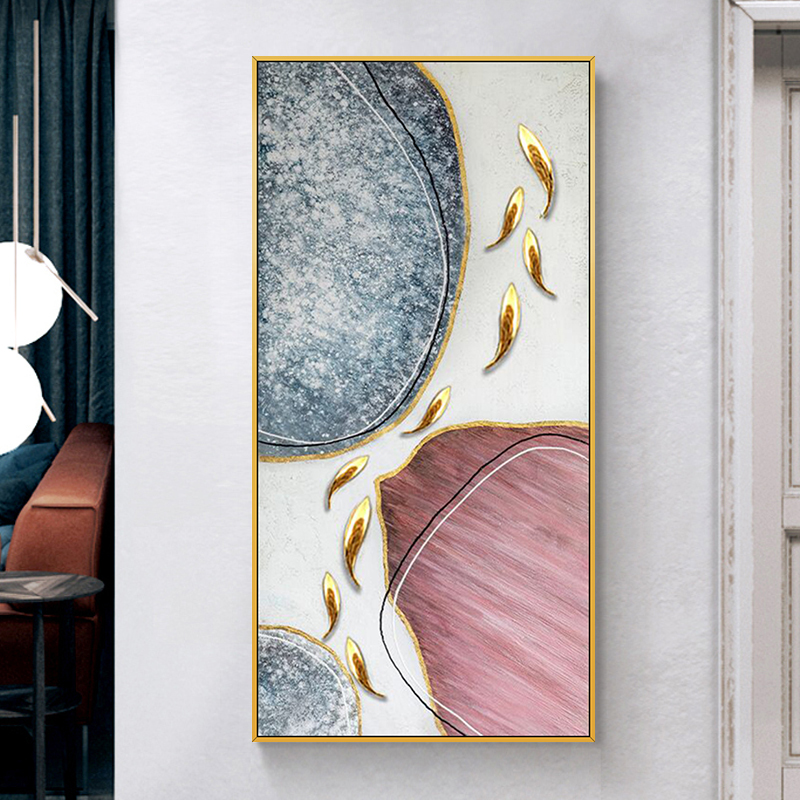 手绘油画玄关过道挂画现代简约金色轻奢装饰画九鱼图力争上游