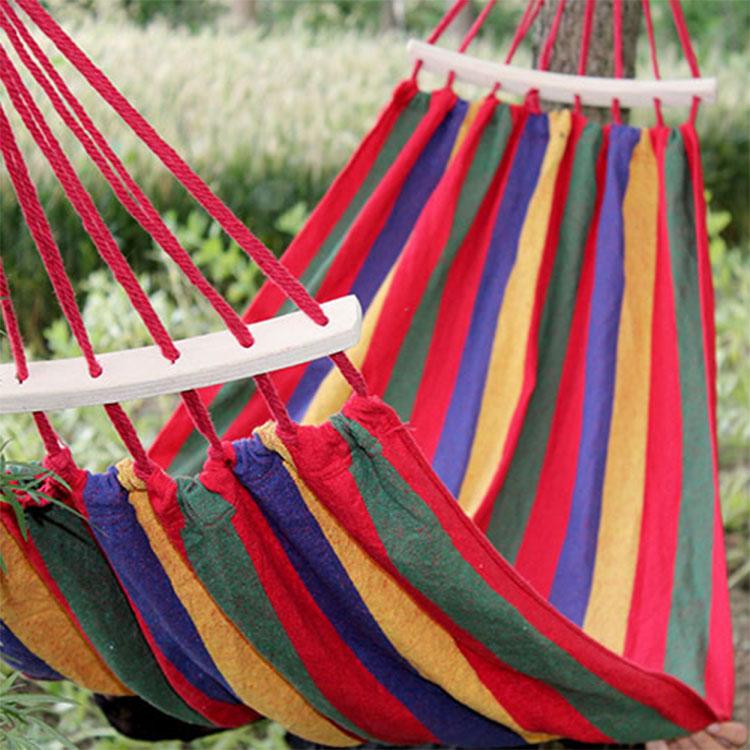 帆布吊床防侧翻户外单双人家宿舍寝室内加厚弯木棍吊床吊椅秋千