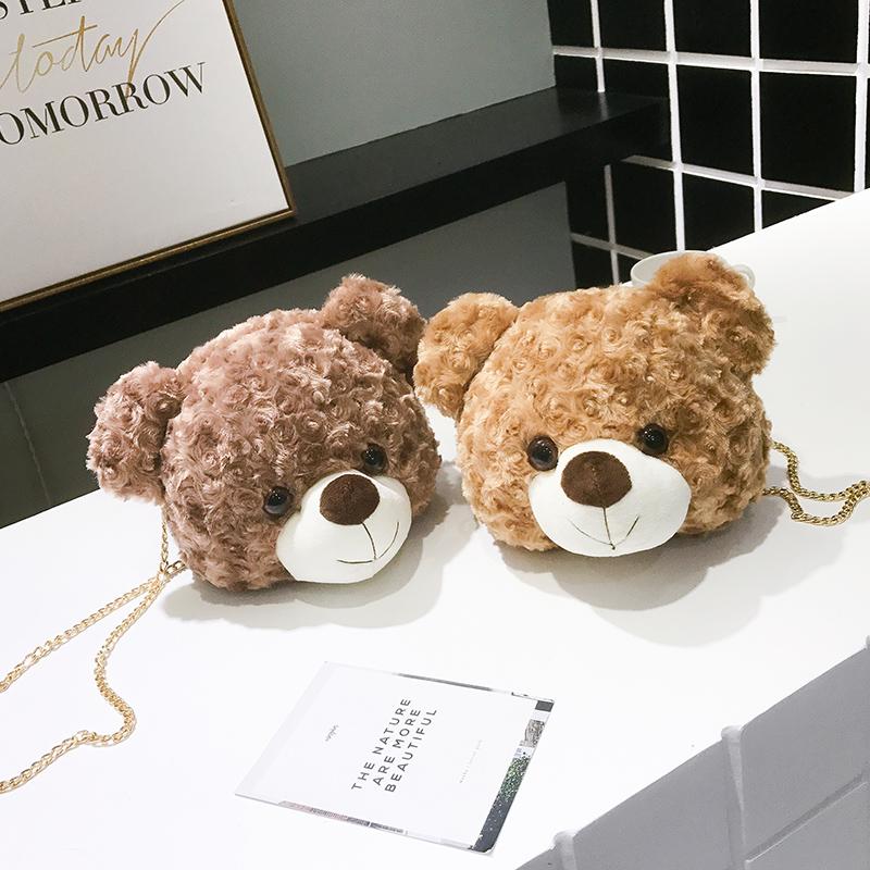 泰迪小熊夏季包包女2019新款韩版时尚卡通可爱百搭斜挎毛绒小包包