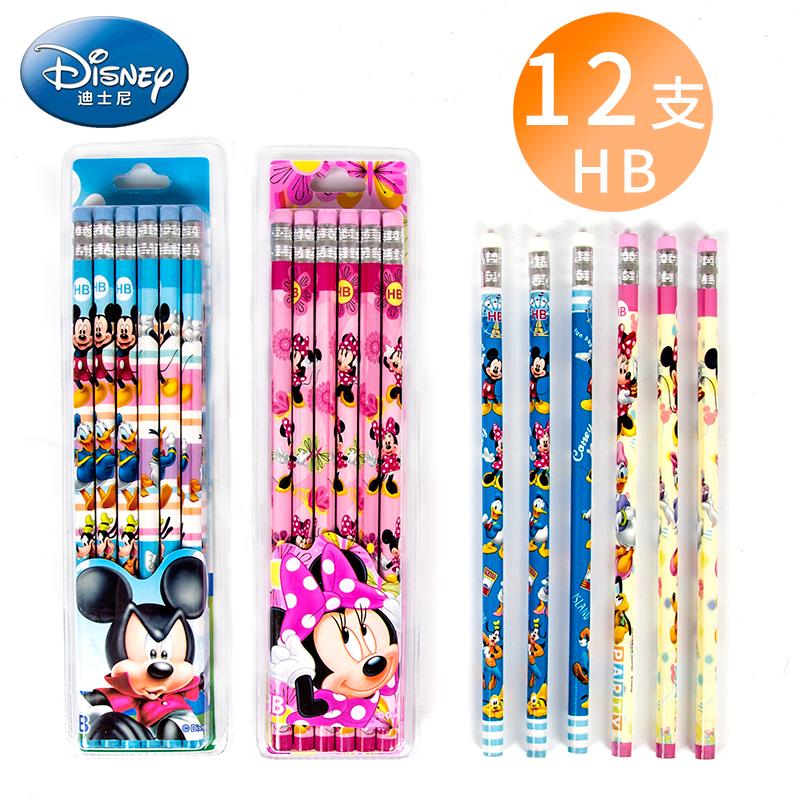 正版迪士尼带橡皮头HB铅笔 透明盒装铅笔 一盒