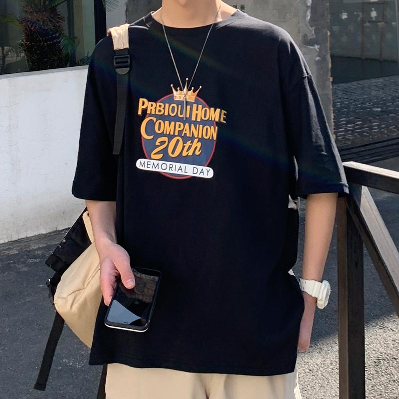 短袖t恤男夏季2020新款宽松五分中袖体恤纯棉上衣服ins潮牌半袖男