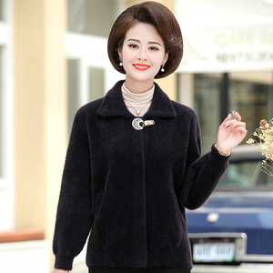 5Middle-aged mother autumn and winter models mink velvet coat short section 50 years old 2019 middle-aged and elderly women's winter woolen coat