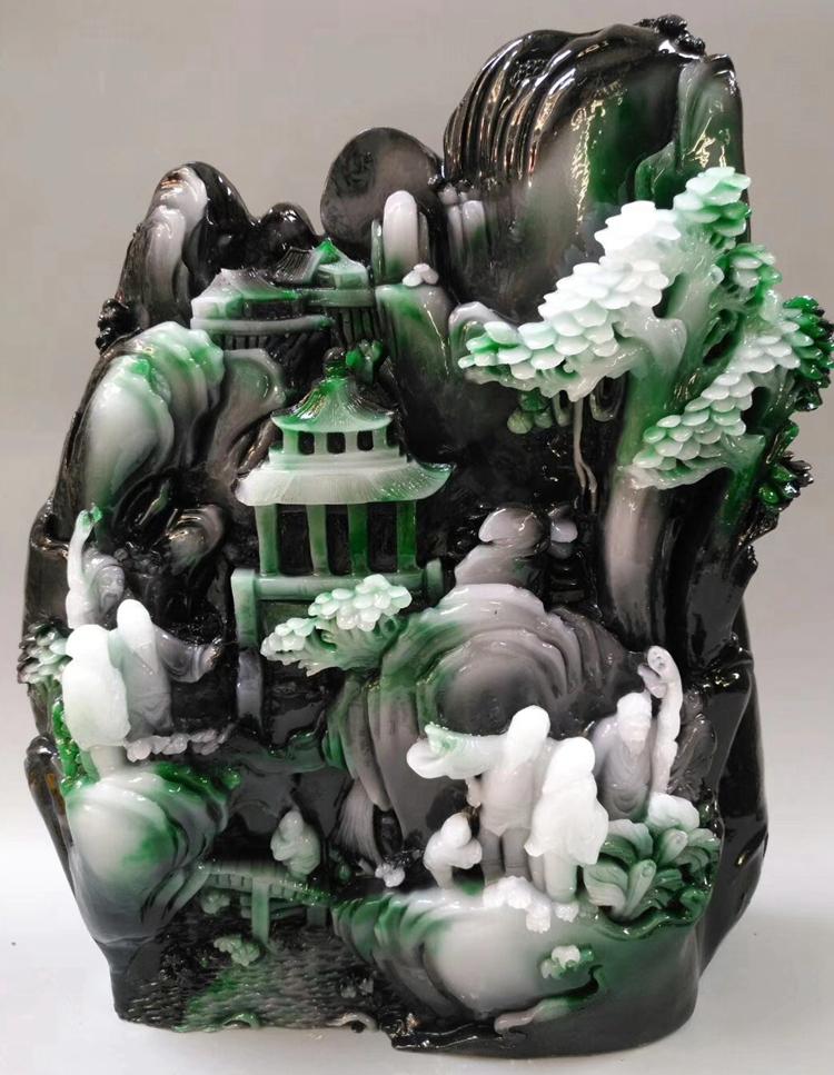 仿翡翠原石玉器石头摆件 天然岫玉山水摆件独山玉石雕玉雕工艺品
