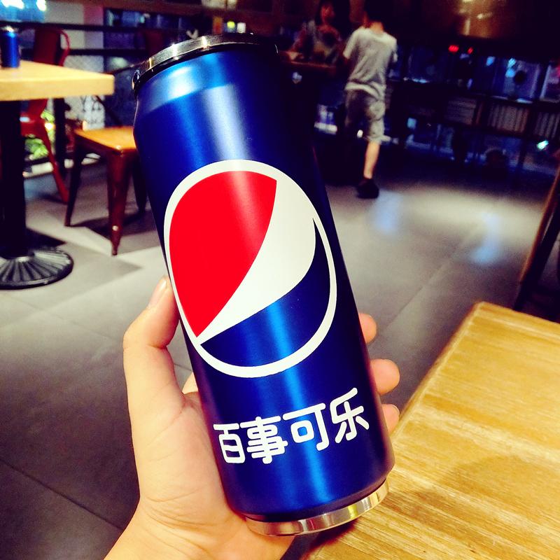 创意不锈钢保温杯百事可乐雪碧易拉罐学生个性保冷吸管便携水杯子