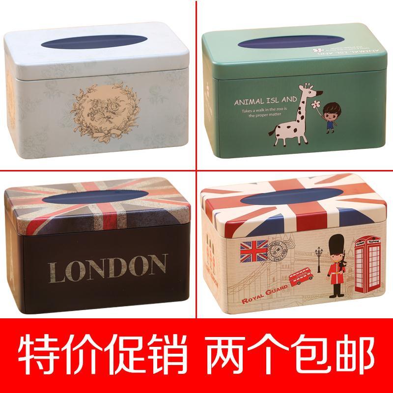 欧式可爱纸巾盒简约创意家用车铁盒纸抽盒卡通客厅茶几餐厅抽纸盒