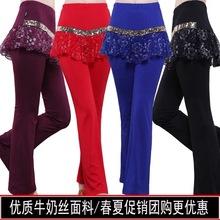 广场舞裙裤新式ad4夏蕾丝加xt舞蹈裤裙女假两件长裤练功裤子