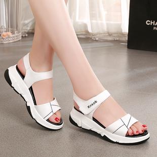 2020新款雪地意尔康女鞋真皮中跟凉鞋女夏软底大码运动凉鞋沙滩鞋