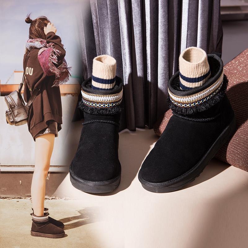 涉趣短筒雪地靴女韩版学生平底小短靴2017新款真皮棉鞋秋冬季女鞋