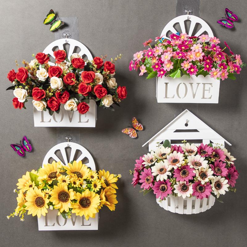 挂墙假花 壁挂装饰 小清新墙面上挂件仿真塑料花篮客厅墙壁室内花