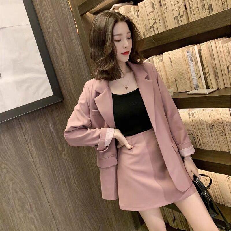2020新款韩版粉色休闲小西装+半身短裙套装女御姐气质两件套-强强网络服饰-