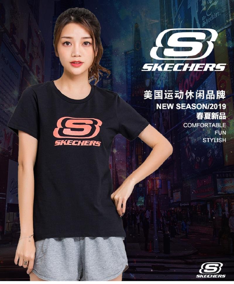 Skechers/斯凯奇T恤女短袖潮 修身显瘦ins网红SDAWS18B010-A12