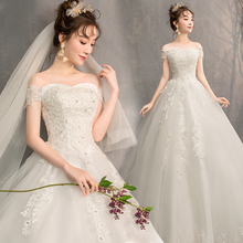 婚纱礼服2021新款新娘韩款一字肩齐km15孕妇绑xx长拖尾婚纱