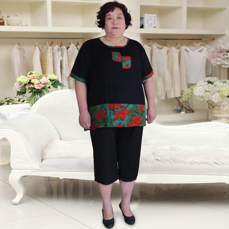 200斤超大号中老年女夏装t恤套装加肥加大码妈妈装宽松休闲七分裤
