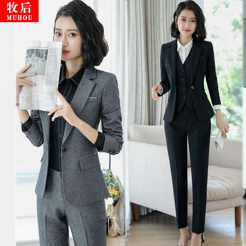 职业小西装女套装韩版修身黑色西服外套春秋新款面试女装长袖工装