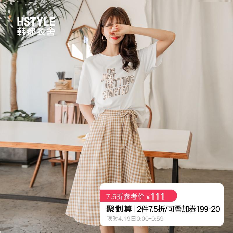韩都衣舍2019韩版女装夏装新款学生清新格子a字裙半身裙JN8329焕