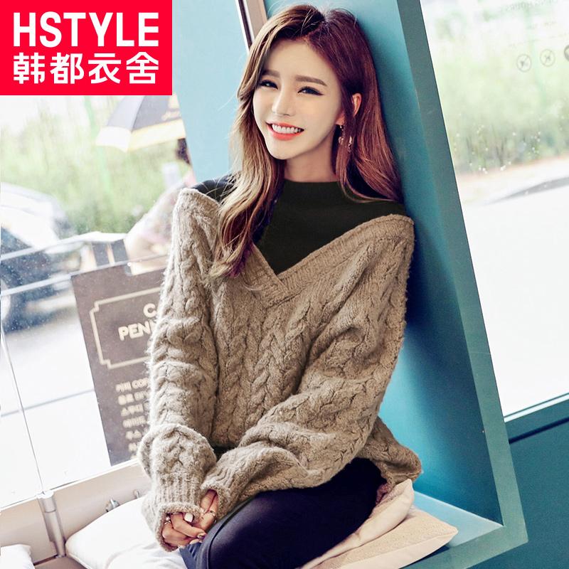韩都衣舍2017韩版女装冬新款假两件半高领宽松针织衫毛衣MY7891沐