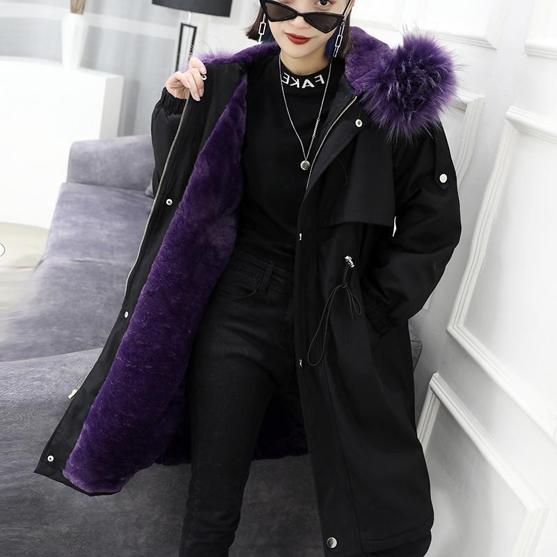 2018新款韩版毛内胆派克服女中长款时尚派克大衣狐狸毛领皮草外套