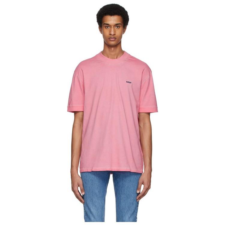Hugo Boss/胡戈波士男士短袖圆领有机棉粉色T恤 200406ss0293