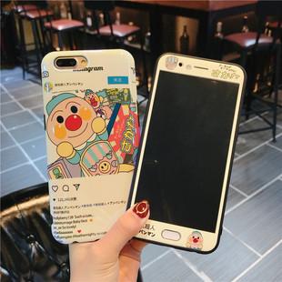 可爱卡通面包超人oppor9s钢化彩膜r11蓝光手机壳r9plus全屏防爆膜