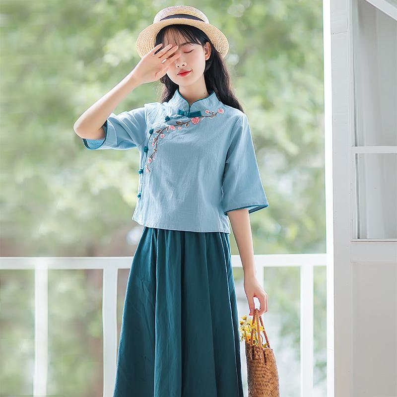 2019新款夏装学生文艺复古套装旗袍式上衣半身裙民族风两件套装女