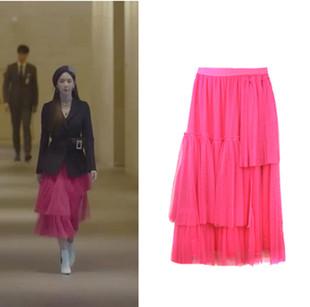 内在美韩剧李多喜姜沙拉同款网纱裙不对称百褶荷叶边半身裙网纱裙