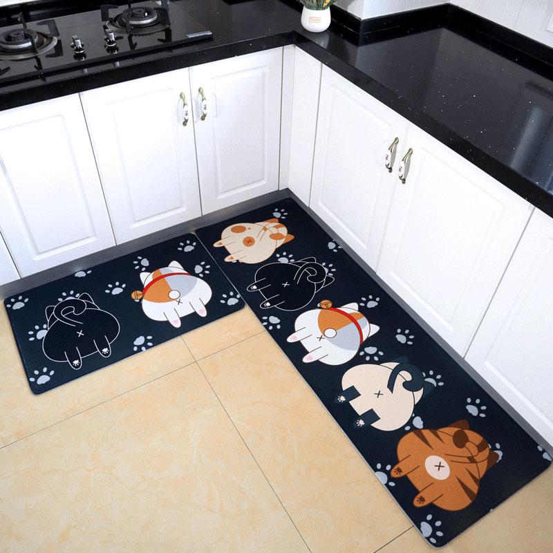 厨房地垫长条防滑吸水防油脚垫满铺家用长方形可水洗耐脏定制地毯