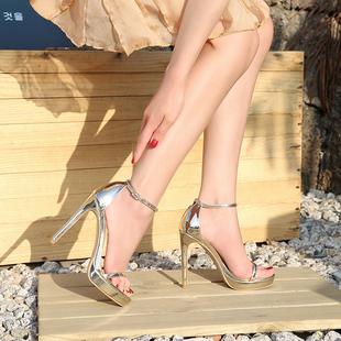 高跟鞋2020年新款明星同款防水台一字带扣细跟12cm白色性感凉鞋女