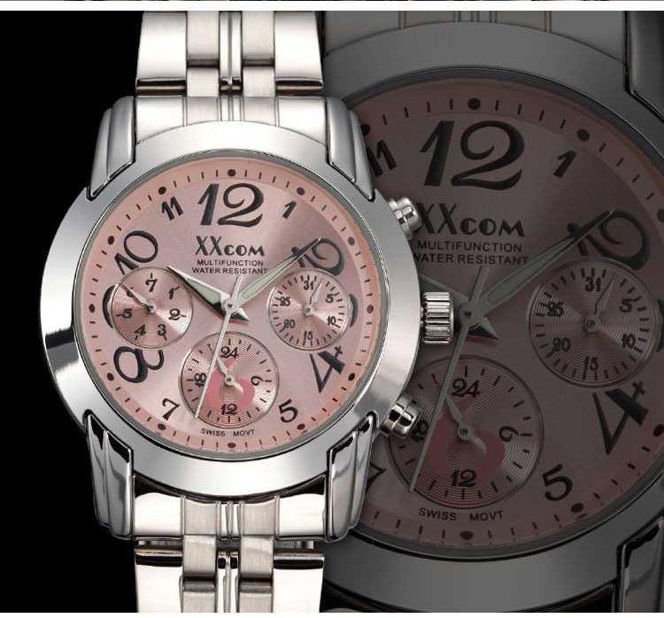 适时蔻品牌全自动机械女表流行石英表真三眼多功能 休闲 女士手表