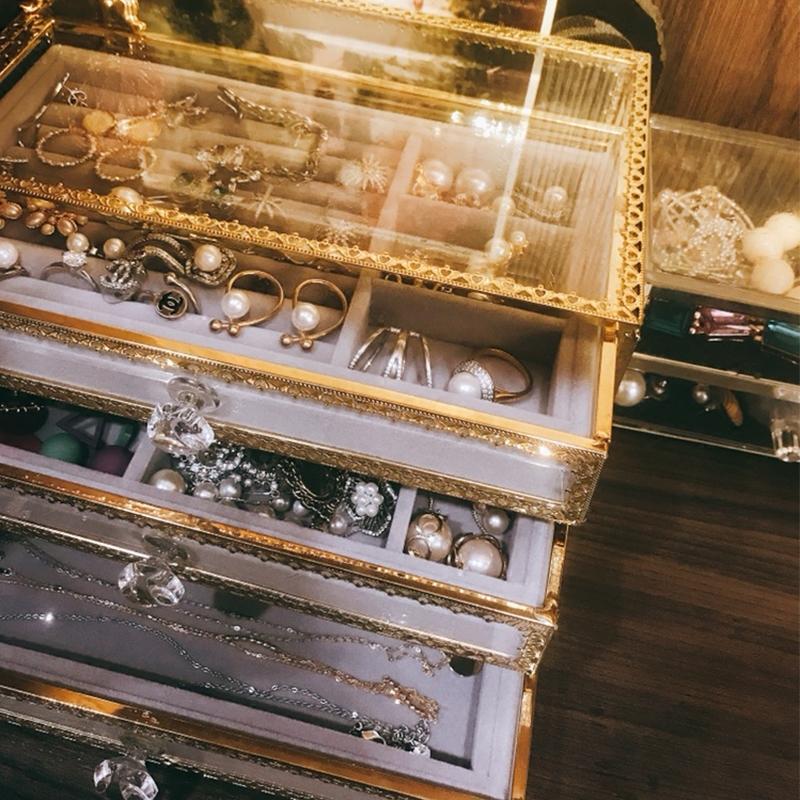 大号透明玻璃桌面首饰盒手表收纳盒耳环耳钉发卡耳夹礼物小饰品盒