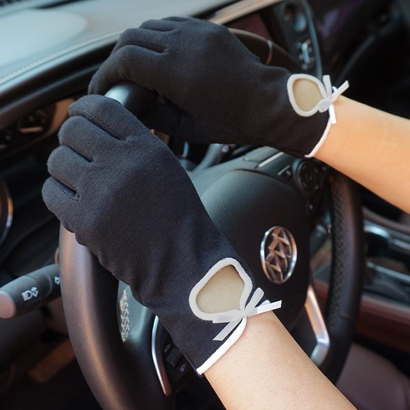 克拉斯卡夏季女士薄款防晒小香风纯棉透气吸汗掌心颗粒开车手套