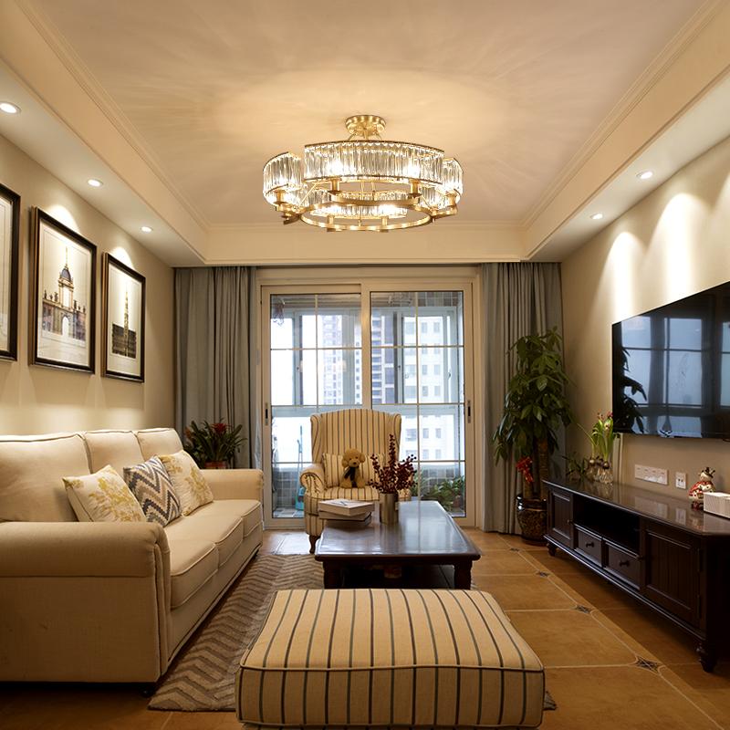 水晶吊灯客厅简约现代卧室吊灯创意个性美式全铜灯具大厅餐厅灯饰-格雅诺灯饰品牌店