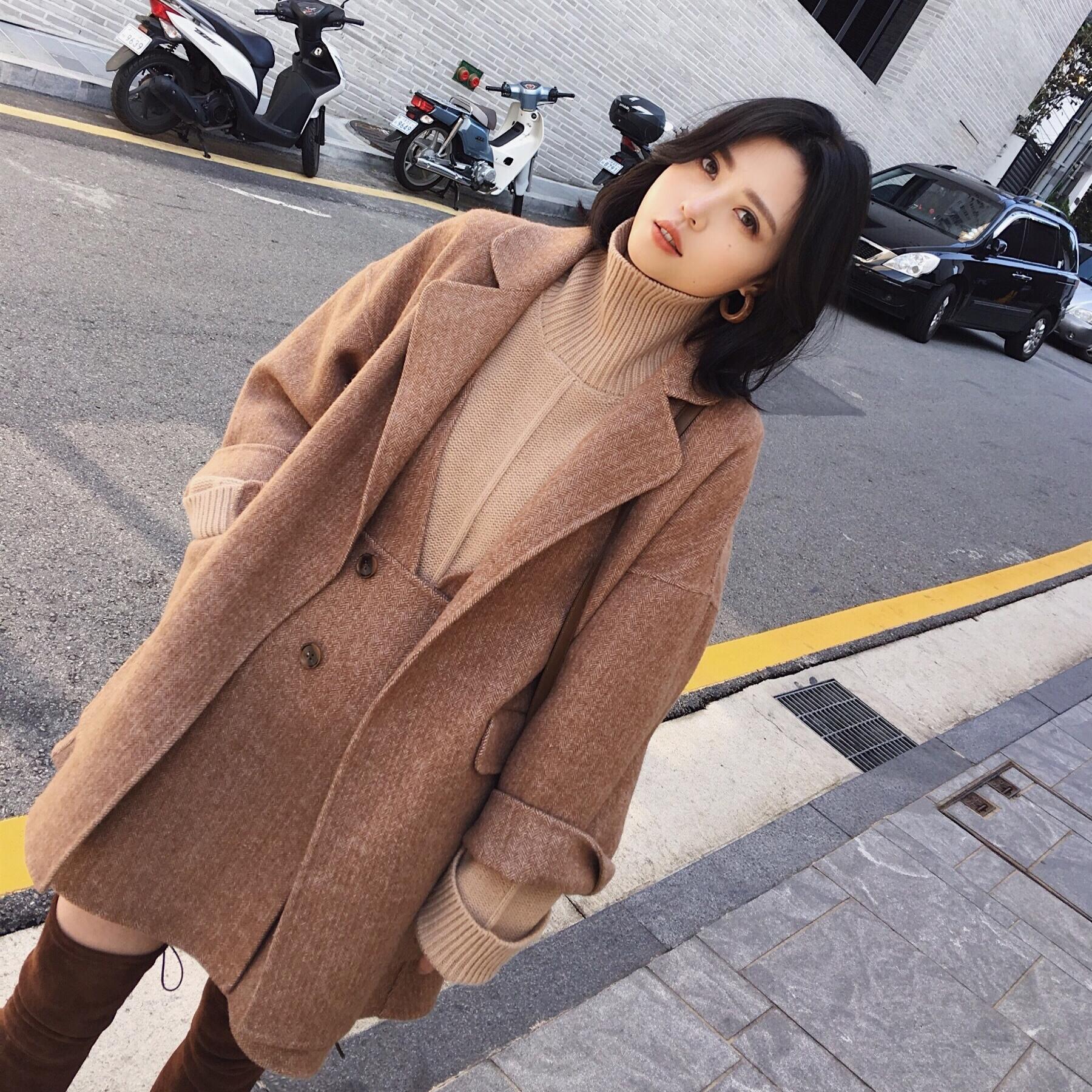 ◆ANNA◆2017冬装新款羊毛羊驼绒呢子大衣双面中长款外套女装套装