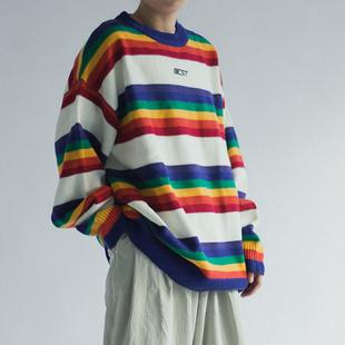 韩国复古撞色圆领针织衫彩虹条纹