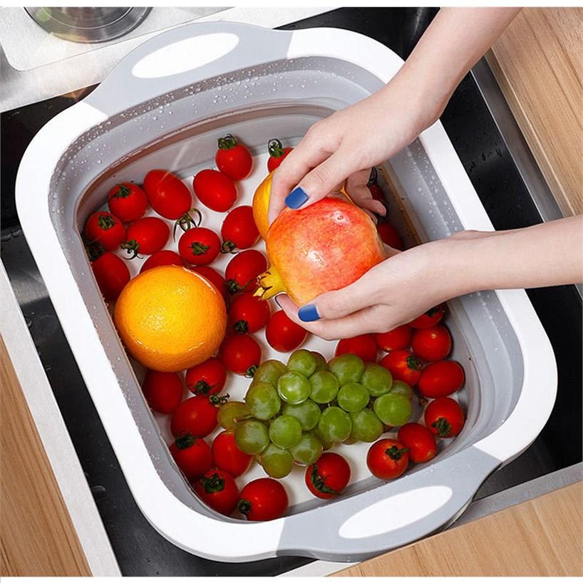 aa可折叠多功能菜板家用防霉塑料砧板切菜板洗水果沥水篮折叠盆