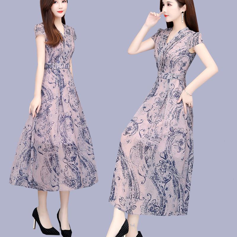 雪纺过膝长裙子女夏季2019新款气质有女人味的夏天流行长款连衣裙