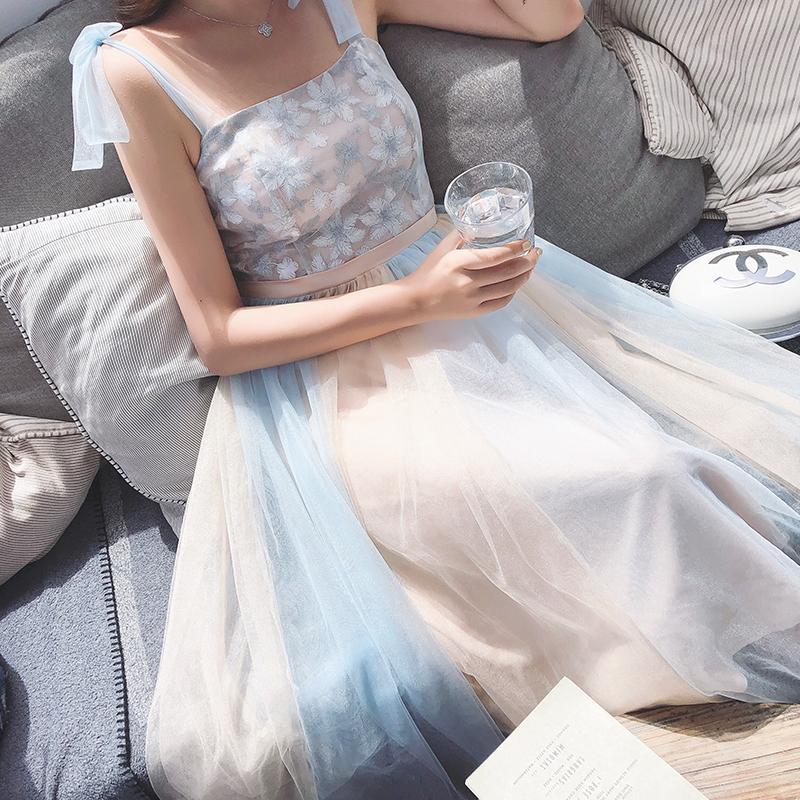 温柔仙女裙收腰连衣裙女夏少女心显瘦韩版新款小个子学生甜美chic