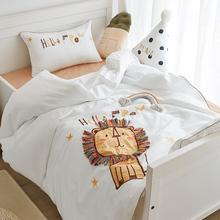 60支全棉贡缎ee4童三件套7g布绣单的床上用品1.2米床单被套